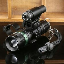 Tactical Red Dot Laser CREE LED Zoomable Flashlight Sight Rifle Scope Mount Ring