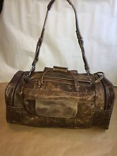 Authentic distressed leather handmade Light Brown travel/gym men's duffle bag