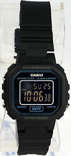 Casio LA-20WH-1B Ladies Pitch Black Digital Watch with LED Light 5 Year Battery