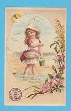 CLARKS COTTON - ADVERTISING  / CHILD CARD - GIRL  PADDLING  -  C 1880's