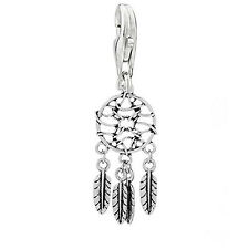 Feather Dream Catcher Clip on Pendant Charm for Bracelet or Necklace
