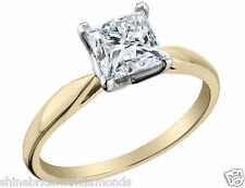 1 Ct Princess Solitaire Engagement Wedding Promise Ring Real 18K Yellow Gold