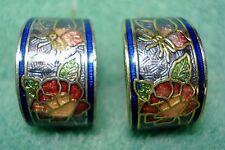 Vintage Rose Flower Butterfly Guilloche Enamel Cloisonne Pierced Hoop Earrings