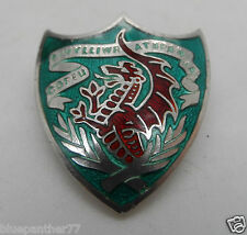 Rare Silver & Enamel Welsh Dragon Shied Brooch 7g Birmingham 1925 No Reserve