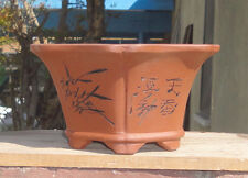 "Hexagon Zisha Etched Bonsai Pot Shohin Dwarf Planter 7.25""x6.25""x3.75"""
