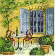 6 serviettes des nappes sur la terrasse-chaise-table-maison — place-la020
