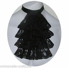 Men black lace jabot/cravat Victorian/Georgian /Regency/Steampunk /Goth costume