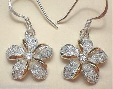 15mm Hawaiian 2-Tone Silver 14k Yellow Gold DC Sparkly Plumeria CZ FH Earrings