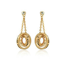 """18k Rose Gold Plated """" I Wish You Will Have a Good Luck """" Triple Rings Earrings"""