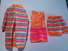 Vintage Barbie Francie Doll Wild n Wooly 1968 Mod Outfit Orange Skirt Coat Mod