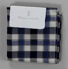 Brunello Cucinelli Pocket Square Dark Blue White Plaid 100% Cotton Hand Rolled