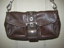 Authentic PRADA Brown Leather Womens Handbag Shoulder Bag Made in Italy