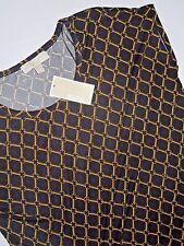 Michael Kors  Black chain print short sleeve top Shirt size MEDIUM