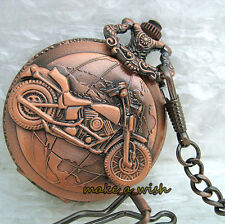 Mens Motorcycle Cool Jewel Rare Vintage Red Pocket Watch Special Design+Chain