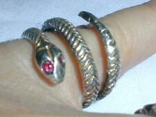GREAT! STERLING ALL TEXTURED SNAKE RING WITH GARNET EYES- SIZE 8!