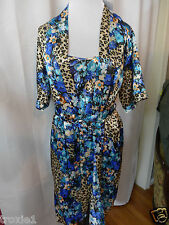 Do Not Disturb Lingerie Set Nightgown & Robe Leopard & Floral Print New Misses