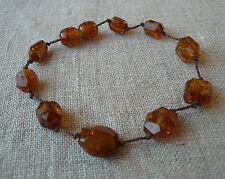 "7,3"" Genuine Cognac Faceted Glittering Baltic Amber Bracelet"