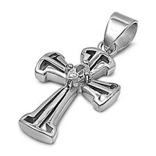 Embers Cross Pendant with Cubic Zirconia Sterling Silver 925 Religious Jewelry