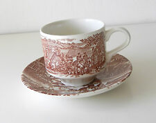 Vintage Brown & White Toile Transferware Cup & Saucer By Broadhurst Of England