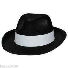 FELT BLACK GANGSTER HAT MOB TRILBY FANCY DRESS COSTUME AL CAPONE JACKSON