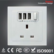 British UK Socket Adapter Wall Charger Power Outlet With Triple 3 USB Ports