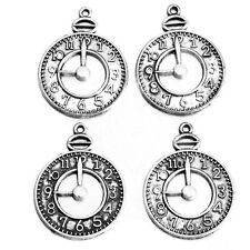 100Pcs Wholesale Silver Tone Clock Carved Round Hollow Charms Alloy Pendants L