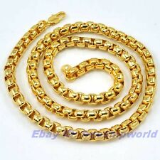 """23.6""""6mm93g REAL MEN 18K YELLOW GOLD GP BOX NECKLACE SOLID FILL GEP CHAIN LINK"""