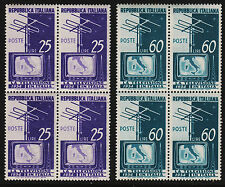 1954 Italy Television Set Sc#649-650 Blocks of 4 MNH VF