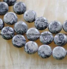 10mm Natural Map Jasper Coin gems loose Beads 15 ""