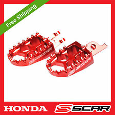 FOOTPEGS EVO HONDA CR 125 CRF 150 250 450 CRF250R CRF450R RED FOOT PEGS SCAR