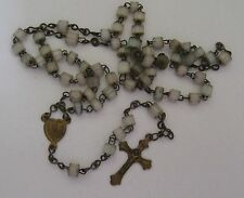 Vintage Hand Carved White Iridescent Gem Stone Rosary Beads