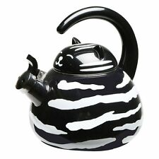 Whistling Tea Kettle Black and White Tuxedo Cat Enamel - 2 Quart Decorative Pot