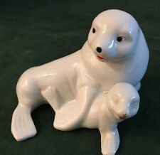 Vintage White Porcelain Mother Seal Sea Lion W/Baby figurine Hand Painted *