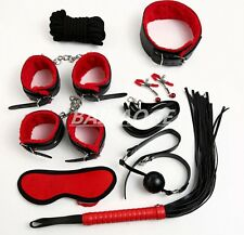 8 kit Adult Bondage cuff Cuffs BDSM Ball Ropes Blindfold Whip Fetish Black/Red