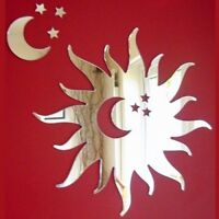 Sun Mirror with Moon & Stars (3mm Acrylic Mirror, Several Sizes Available)