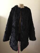 METAPHOR Vintage Faux Fur COAT Jacket Womens Size Large Black NWOT Msrp  $140