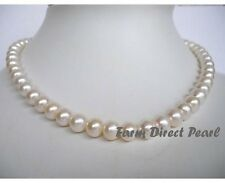 "16"" Inch Choker Genuine 8-9mm White Pearl Necklace Cultured Freshwater"