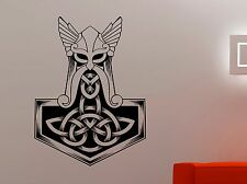 Thor Hammer Vinyl Decal Mjolnir Wall Sticker Viking Superhero Bedroom Decor 2thr