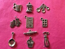 Tibetan Silver Mixed Baking/Bake/Cooking Themed Charms 10 per pack