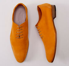 NIB $1890 KITON NAPOLI Soft Orange Nappa Calf Suede Wholecut US 9 D Shoes