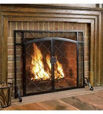 "Metal Fireplace Screen Black w 2 Magnetic Doors Flat Celtic Accent 44"" x 33"""