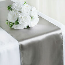 "Silver SATIN 12x108"" Table RUNNER Wedding Party Catering Dinner Decorations SALE"