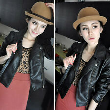New Lady Women Biker Jacket Zipper Punk Bomber Coat Outwear Blazer Suit Ponchos