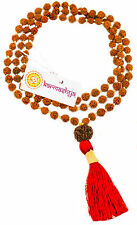 8mm RUDRAKSHA RUDRAKSH FIVE MUKHI 5 FACE JAPA MALA  108 +1 BEADS ROSARY YOGA RED