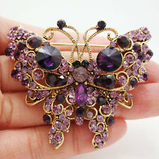 Vintage Noble Butterfly Animal Purple Rhinestone Crystal Gold-plate Brooch Pin
