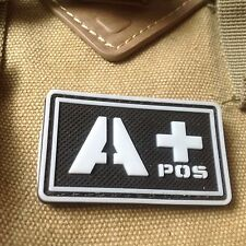 GLOWING  Military Blood Type A+ Positive Tactical Army 3D PVC Patch