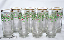 Lenox Holiday * 8 TUMBLERS (GLASSES HIGHBALLS) * Christmas Holly, MINT!!