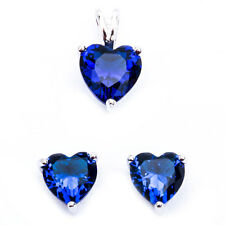 Blue Sapphire Heart .925 Sterling Silver Earring & Pendant Jewelry set