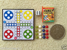 DOLLS HOUSE MINIATURE LUDO GAME Board Dice Counters & Book Handmade 1:12th scale