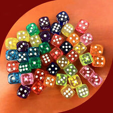 5X 16mm Acrylic Transparent Dice Portable Table Games Entertainment Tool Popular